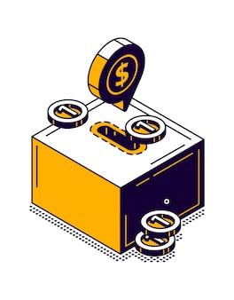 Moneybox-symbol mit isometrischer illustration der goldmünze