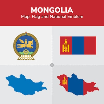 Mongolei karte, flagge und nationales emblem