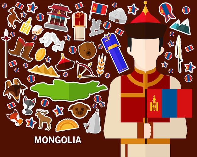 Mongolei-konzepthintergrund flache ikonen