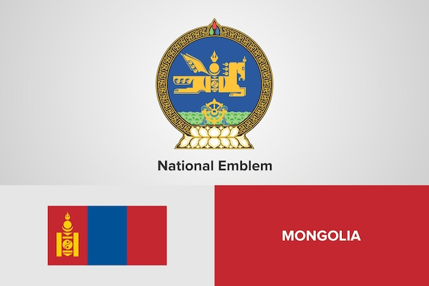 Mongolei national emblem flag vorlage