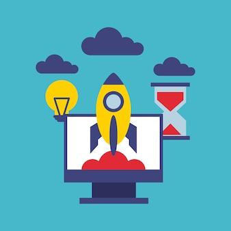 Monitor computer mit social-marketing-symbol