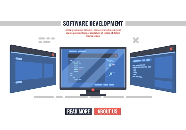 Monitor des programmierers mit geöffnetem fenster mit programmcode