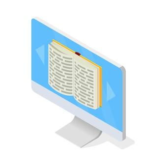 Monitor mit geöffnetem buch auf dem bildschirm. zugang zur virtuellen medienbibliothek, fernunterricht mit modernen technologien, computer, e-learning, buchspeicherkonzept. isometrisch auf weiß.