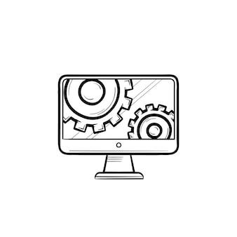 Monitor mit zahnrädern hand gezeichneten umriss-doodle-symbol. service überwachen, optionen einstellen, software vconcept unterstützen