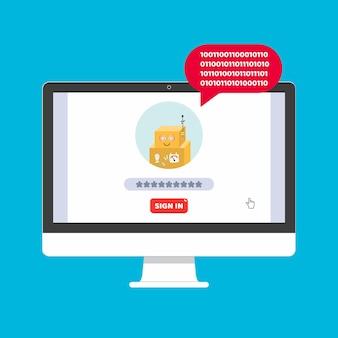 Monitor oder all-in-one-pc-flachdesign mit anmeldeformular und gefälschtem chat-bot-symbol auf dem bildschirmvektor