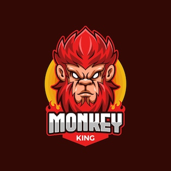 Monkey king e-sport logo mascot vorlage