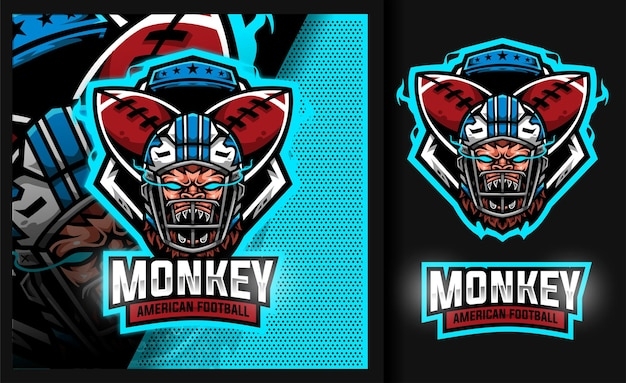 Monkey rugby maskottchen sport fußball logo