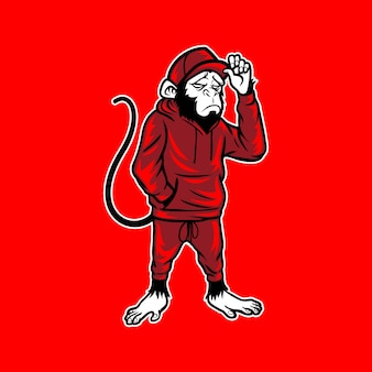 Monkey wear jogginghose und mütze