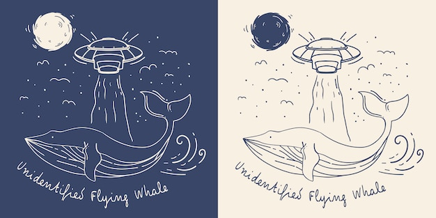 Mono line wal mit ufo-illustration. unbekannter fliegender wal.