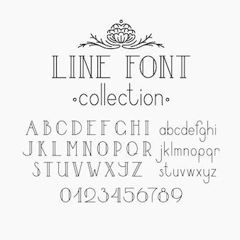 Mono linie dekorative schrift. lateinisches alphabet der weinleseumrissbuchstaben. großbuchstaben, kleinbuchstaben und ziffern.