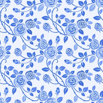 Monochrom blaue farbe rose nahtloses muster.