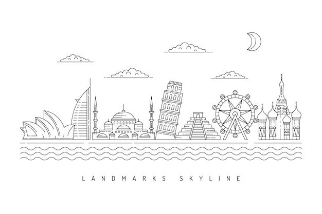 Monochromatische gliederung sehenswürdigkeiten skyline
