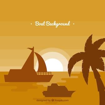 Monochromatischer hintergrund mit palmen und booten