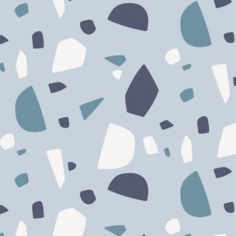 Monochromatisches terrazzomuster mit flachem design