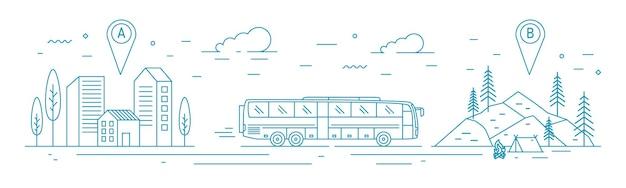 Monochrome bannervorlage mit busfahrt vom abfahrtspunkt zum waldlager am zielpunkt. touristischer transport, reisetransportservice. vektorillustration in der linie kunstart.
