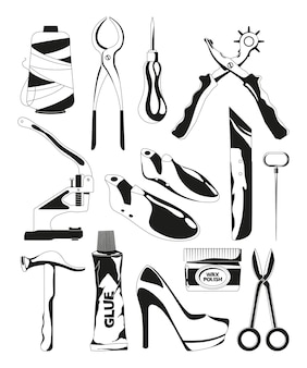 Monochrome bilder satz von schuhreparaturwerkzeugen. schuhmacher werkzeuge schere und bradawl, faden und schraubstock illustration