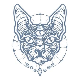 Monochrome black magic sphinx cat