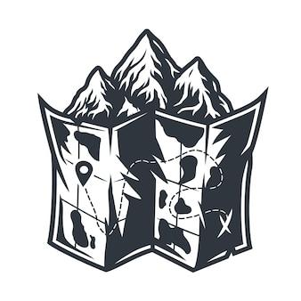 Monochrome emblempapierkarte des gebiets für camping und reisen