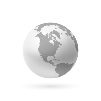 Monochrome erdikone auf weißem hintergrund. illustration.