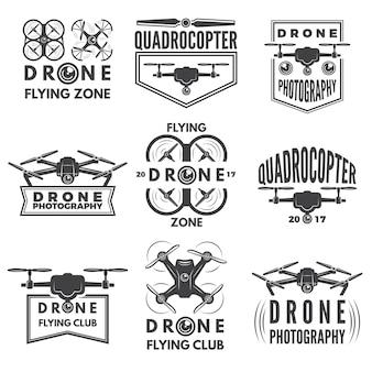 Monochrome etiketten mit verschiedenen quadrocoptern