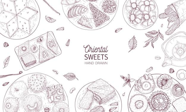 Monochrome fahnenschablone mit orientalischen süßigkeiten, die auf platten liegen, die mit konturlinien auf weißem hintergrund, draufsicht gezeichnet werden