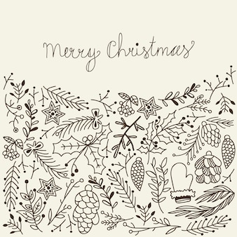 Monochrome frohe weihnachtskarte traditionelle elemente auf grau