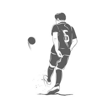 Monochrome fußballspieler isolierte illustration