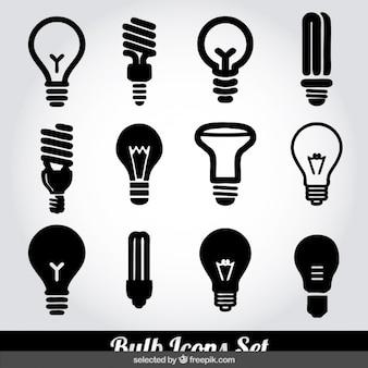 Monochrome glühbirne symbole gesetzt