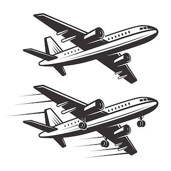 Monochrome illustration des passagierflugzeugs zwei elemente auf weißem hintergrund