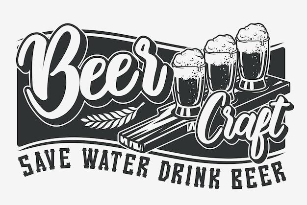 Monochrome illustration mit bier und schriftzug.