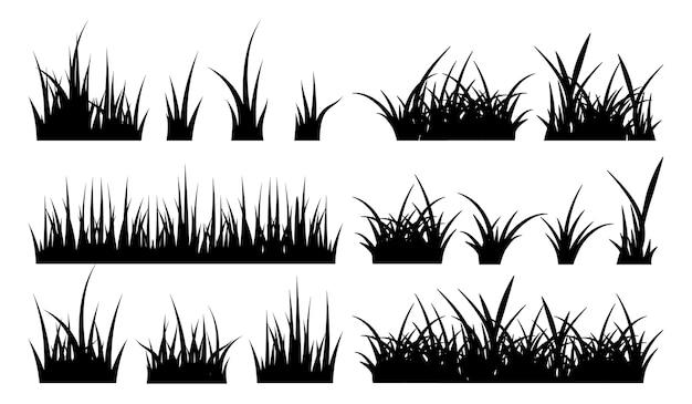 Monochrome illustration von gras. schwarze silhouetten naturrasenfeld