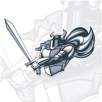 Monochrome knight vor dem angriff.
