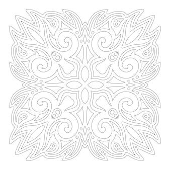 Monochrome lineare illustration für malbuchseite mit abstraktem weinlesemuster