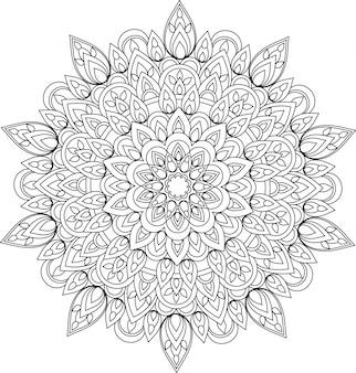 Monochrome mandalaillustration des vektorumrisses.