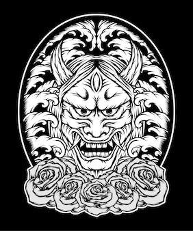 Monochrome oni-maske japan mit rosen. premium-vektor