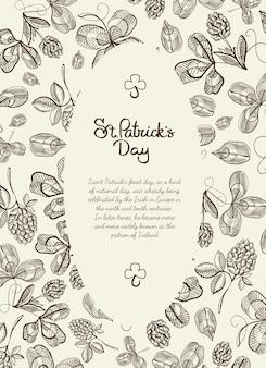 Monochrome ovale rahmen-gekritzelkarte mit vielen hopfenzweigen, blüte und begrüßung mit traditionellem st. patricks tag