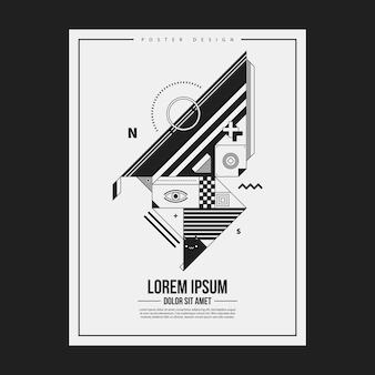 Monochrome poster design-vorlage mit abstrakten geometrischen kreatur. nützlich für werbung.