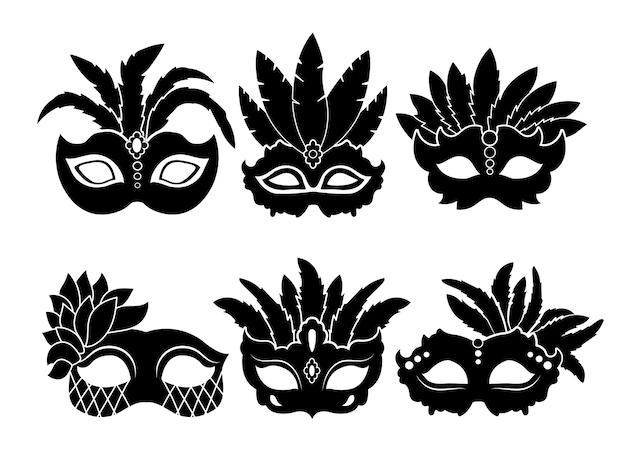 Monochrome schwarze illustrationen von karnevalsmasken lokalisiert auf weißem hintergrund. karnevals- und maskerademaske