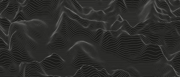 Monochrome tonlinie bewegt abstrakten hintergrund wellenartig