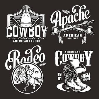 Monochrome vintage wild west abzeichen