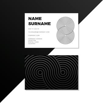 Monochrome visitenkarten mit kurvigen linien