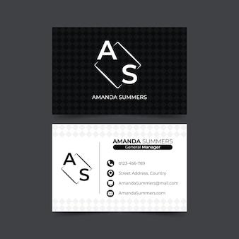 Monochrome vorlage für visitenkarten