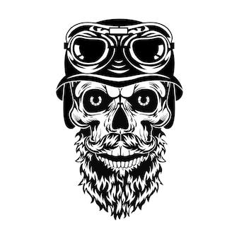 Monochromer bärtiger schädel der hipster-vektorillustration. retro toter kopf im helm mit brille