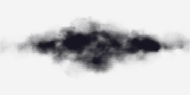 Monochromer druckraster abstrakter vektor halbtonhintergrund schwarz-weiß-textur von punkten