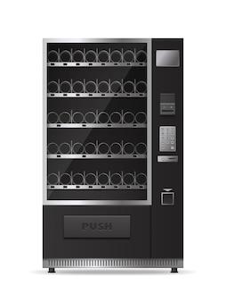 Monochromer leerer moderner verkaufsautomat für getränke- und imbissverkauf isoliert