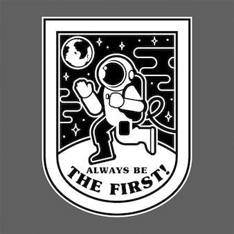 Monochromer patch-symbol-aufkleberstift, der zuerst den menschen auf dem planeten mars aus dem freien raum der erde landet. weltraumkolonisation entdecken mission.