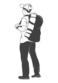 Monochromer tourist mit einem rucksack lokalisiert auf weiß