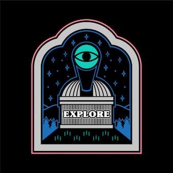 Monochromer vintage grafischer aufkleber patch pin print für kleidung t-shirt poster mit observatorium auf berg mit großem teleskop für beobachter des kosmischen themas der weltraumsterne.