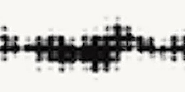 Monochromes druckraster, abstrakter vektorhalbtonhintergrund. schwarz-weiß-textur von punkten.