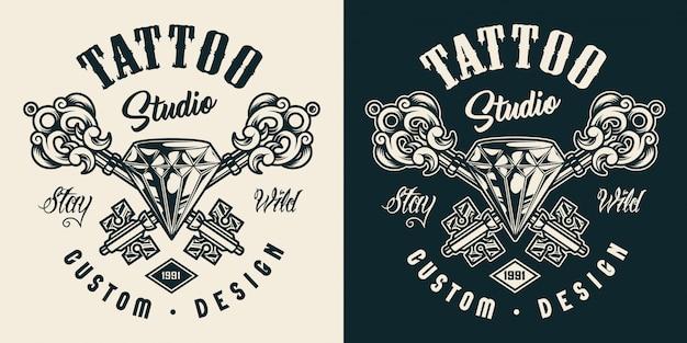 Monochromes etikett des tattoo-salons